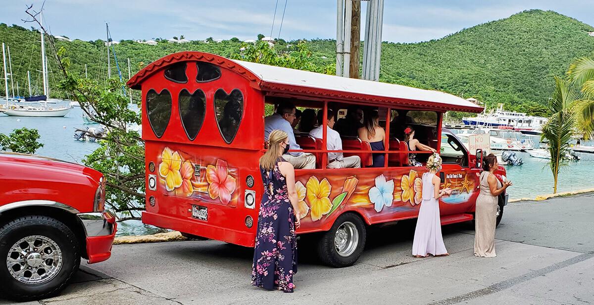 wedding transportation on st john